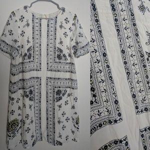 Loft Floral Cross Boho Fall White Sheath Dress